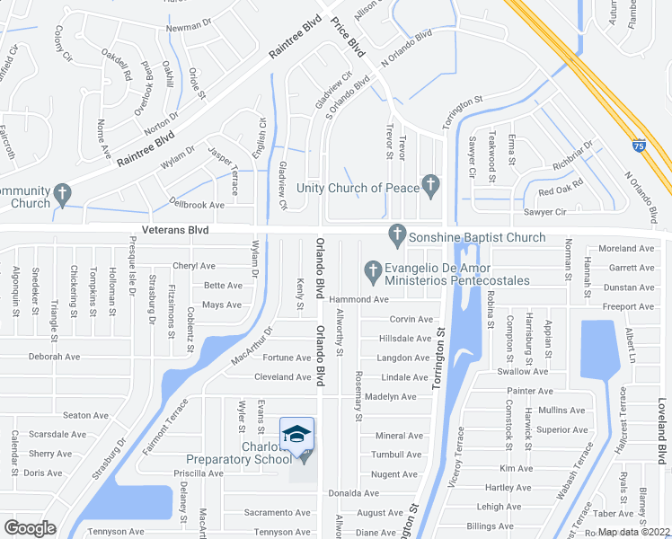 map of restaurants, bars, coffee shops, grocery stores, and more near 65 Allworthy Street in Port Charlotte