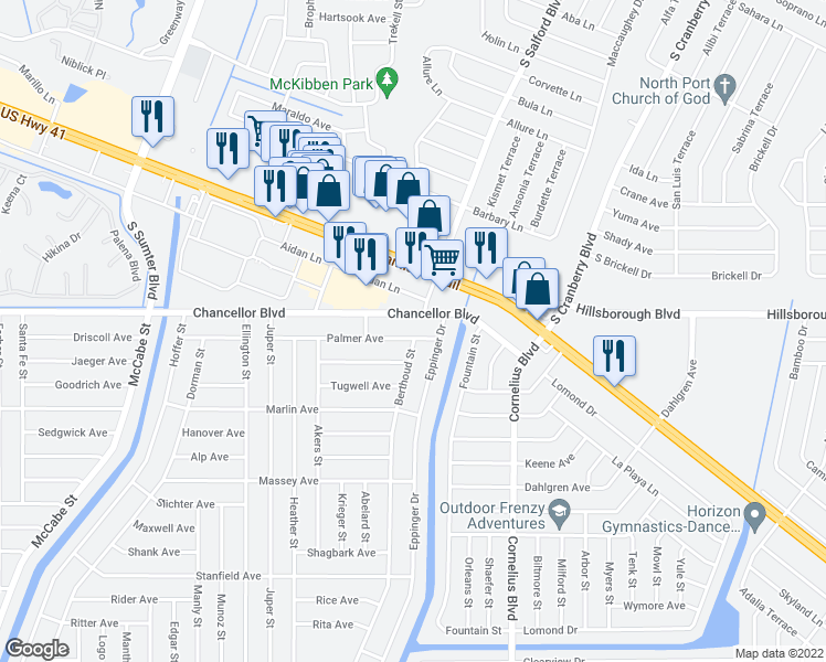 map of restaurants, bars, coffee shops, grocery stores, and more near 14416 Palmer Avenue in Port Charlotte