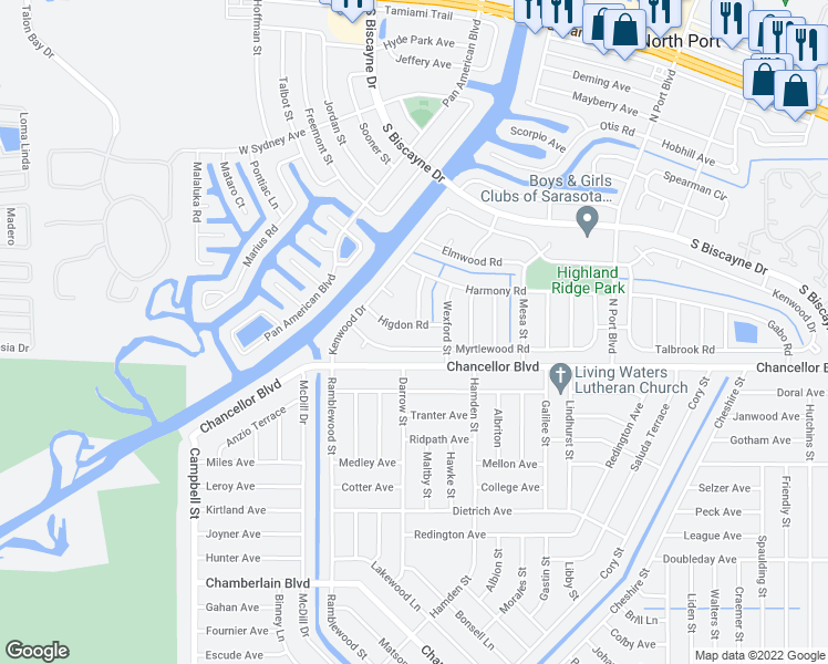 map of restaurants, bars, coffee shops, grocery stores, and more near 6763 Higdon Road in North Port