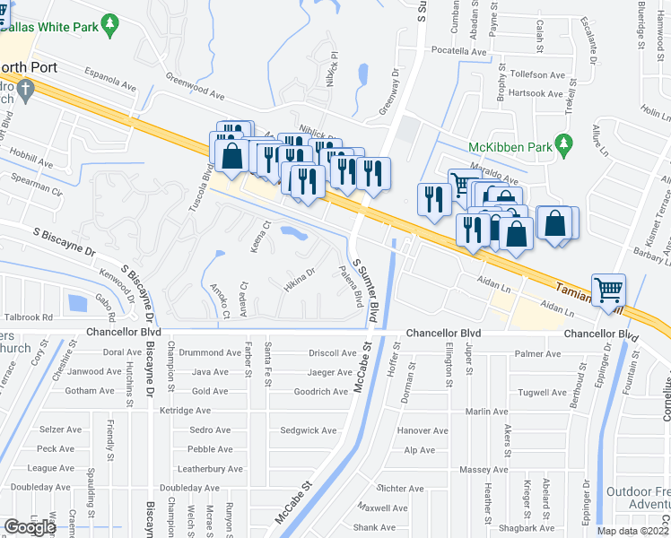 map of restaurants, bars, coffee shops, grocery stores, and more near 6517 Honu Court in North Port
