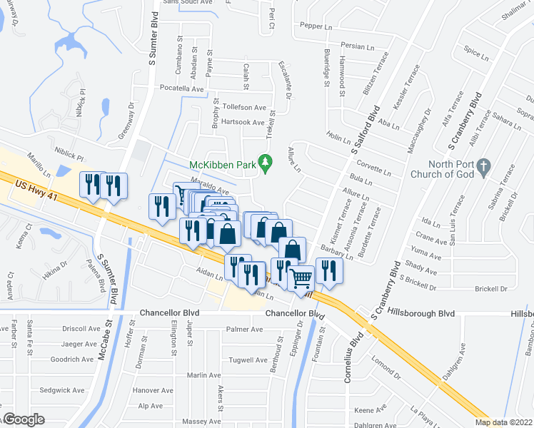 map of restaurants, bars, coffee shops, grocery stores, and more near 5674 Lingle Street in North Port