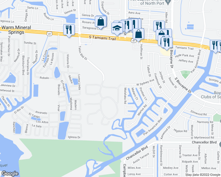 map of restaurants, bars, coffee shops, grocery stores, and more near 6209 Falcon Lair Drive in North Port