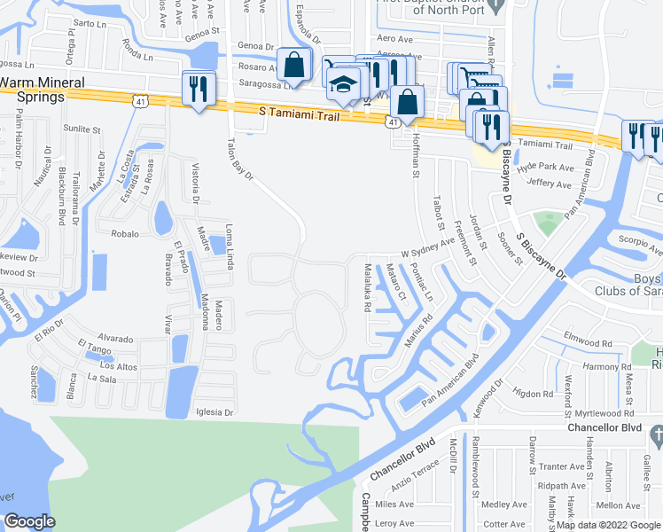 map of restaurants, bars, coffee shops, grocery stores, and more near 6249 Falcon Lair Drive in North Port