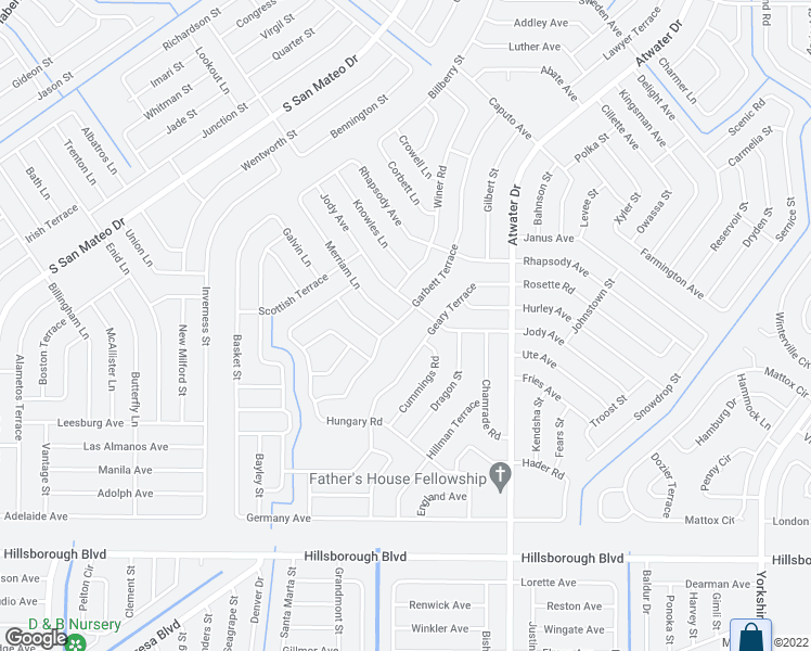 map of restaurants, bars, coffee shops, grocery stores, and more near 4084 Garbett Terrace in North Port