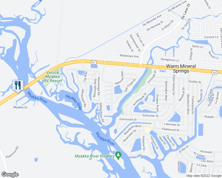 map of restaurants, bars, coffee shops, grocery stores, and more near 157 Riverwalk Drive in North Port