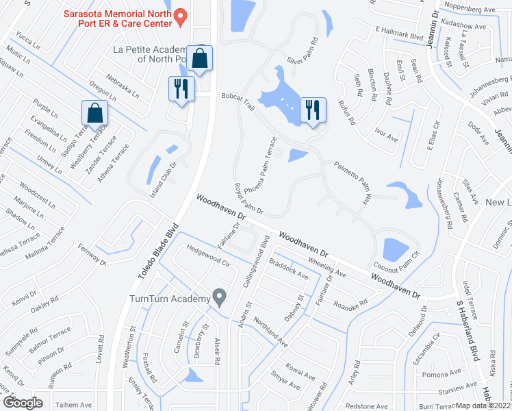 map of restaurants, bars, coffee shops, grocery stores, and more near 3140 Royal Palm Drive in North Port