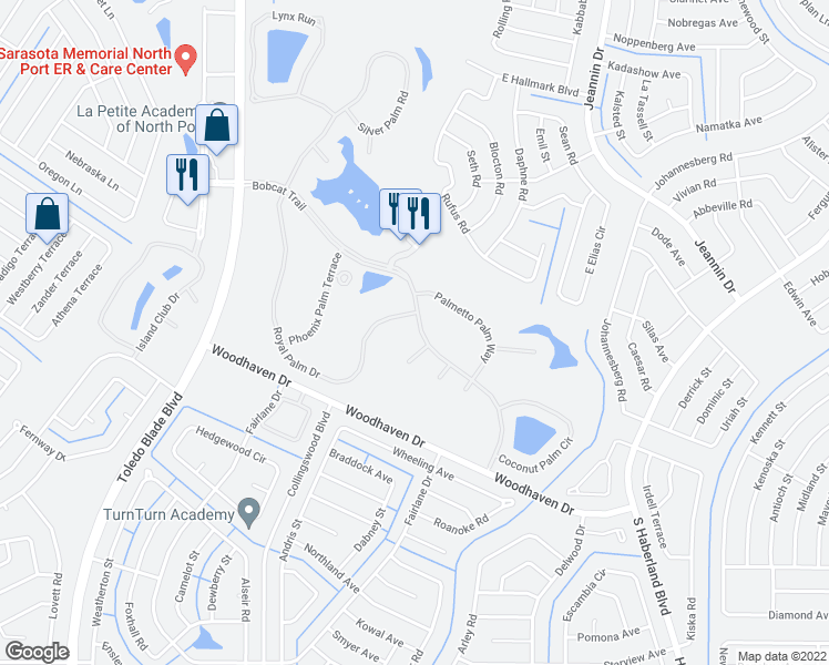 map of restaurants, bars, coffee shops, grocery stores, and more near 1541 Bobcat Trail in North Port