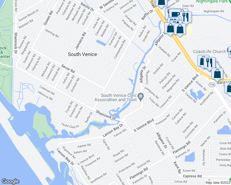 map of restaurants, bars, coffee shops, grocery stores, and more near Linden Road in Venice