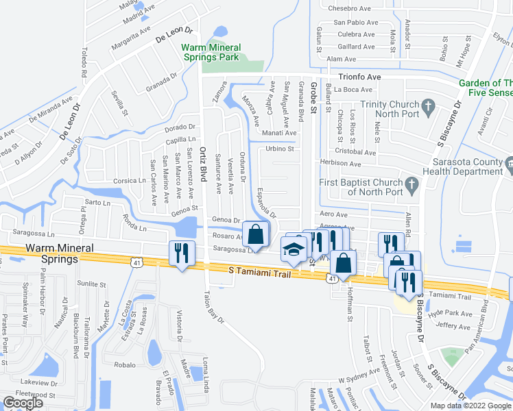 map of restaurants, bars, coffee shops, grocery stores, and more near 244 Espanola Drive in North Port