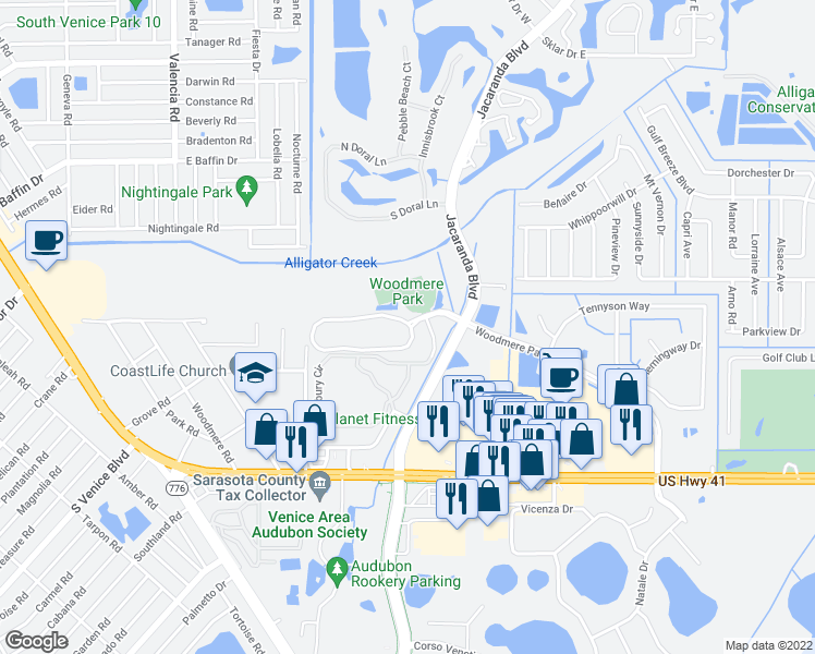 map of restaurants, bars, coffee shops, grocery stores, and more near 3900 Woodmere Park Boulevard in Venice