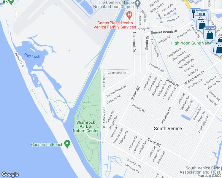 map of restaurants, bars, coffee shops, grocery stores, and more near 3475 Shamrock Drive in Venice