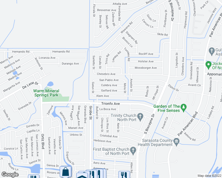 map of restaurants, bars, coffee shops, grocery stores, and more near 8622 Gaillard Avenue in North Port