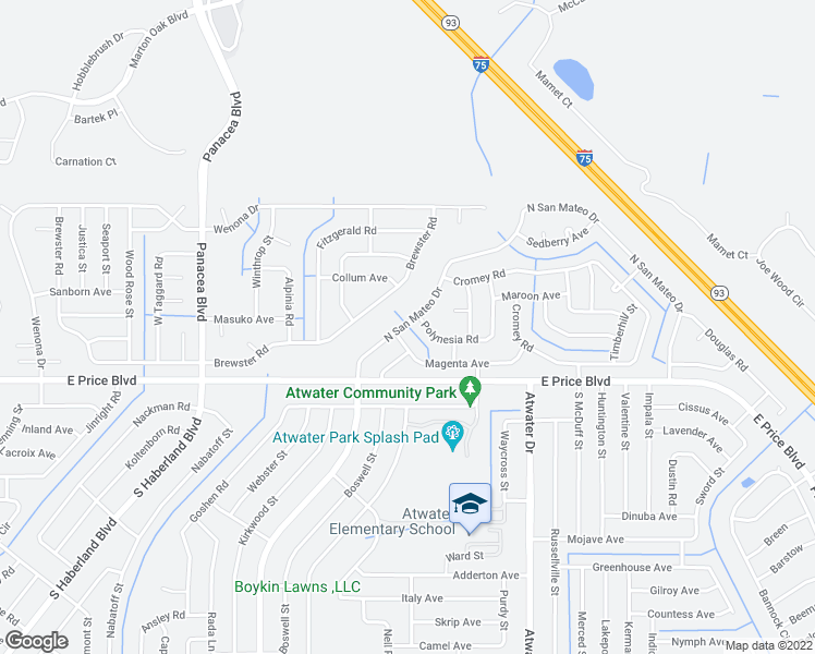 map of restaurants, bars, coffee shops, grocery stores, and more near 1236 North San Mateo Drive in North Port