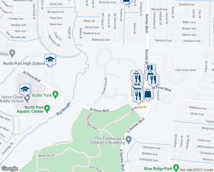 map of restaurants, bars, coffee shops, grocery stores, and more near 1330 Creek Nine drive in North Port