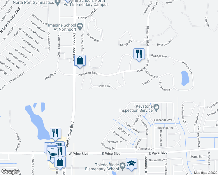map of restaurants, bars, coffee shops, grocery stores, and more near 1195 Jonah Drive in North Port