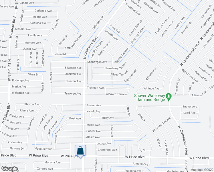 map of restaurants, bars, coffee shops, grocery stores, and more near 2664 Tishman Avenue in North Port