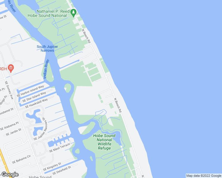 map of restaurants, bars, coffee shops, grocery stores, and more near 144 North Beach Road in Hobe Sound
