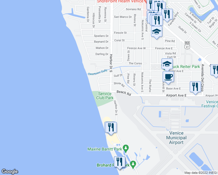 map of restaurants, bars, coffee shops, grocery stores, and more near 1120 Harbor Drive South in Venice