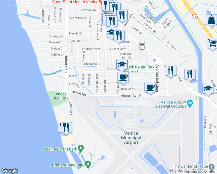 map of restaurants, bars, coffee shops, grocery stores, and more near 105 Base Avenue East in Venice