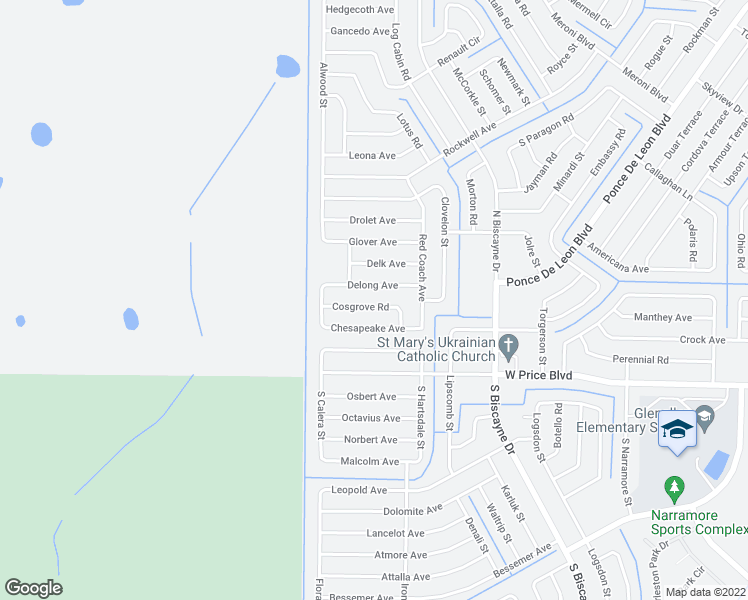 map of restaurants, bars, coffee shops, grocery stores, and more near 8412 Cosgrove Road in North Port