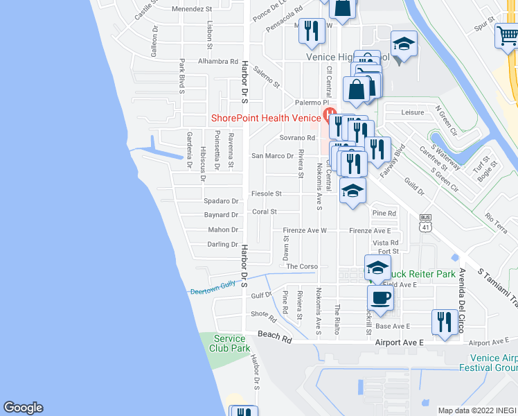 map of restaurants, bars, coffee shops, grocery stores, and more near 332 Coral Street in Venice