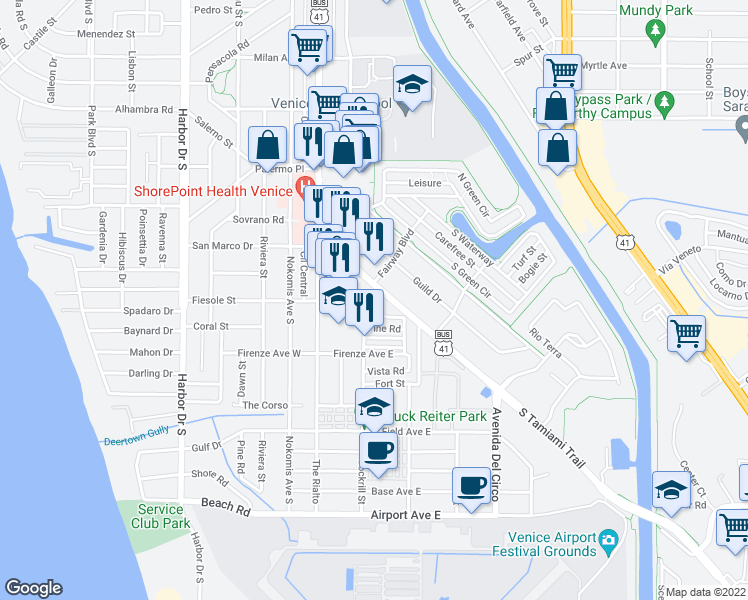 Map Of Venice Florida.708 South Tamiami Trail Venice Fl Walk Score