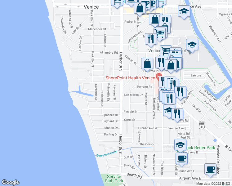 map of restaurants, bars, coffee shops, grocery stores, and more near 617 Ravenna Street in Venice