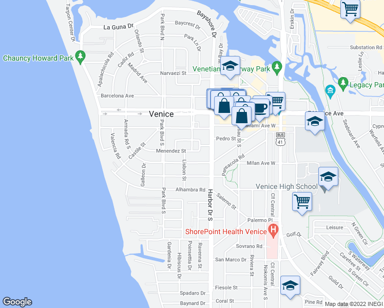 map of restaurants, bars, coffee shops, grocery stores, and more near 425 Menendez Street in Venice