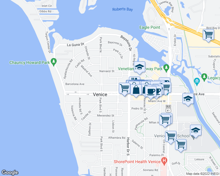 map of restaurants, bars, coffee shops, grocery stores, and more near 512 West Venice Avenue in Venice
