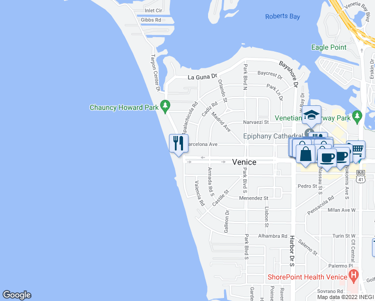 map of restaurants, bars, coffee shops, grocery stores, and more near 100 The Esplanade North in Venice