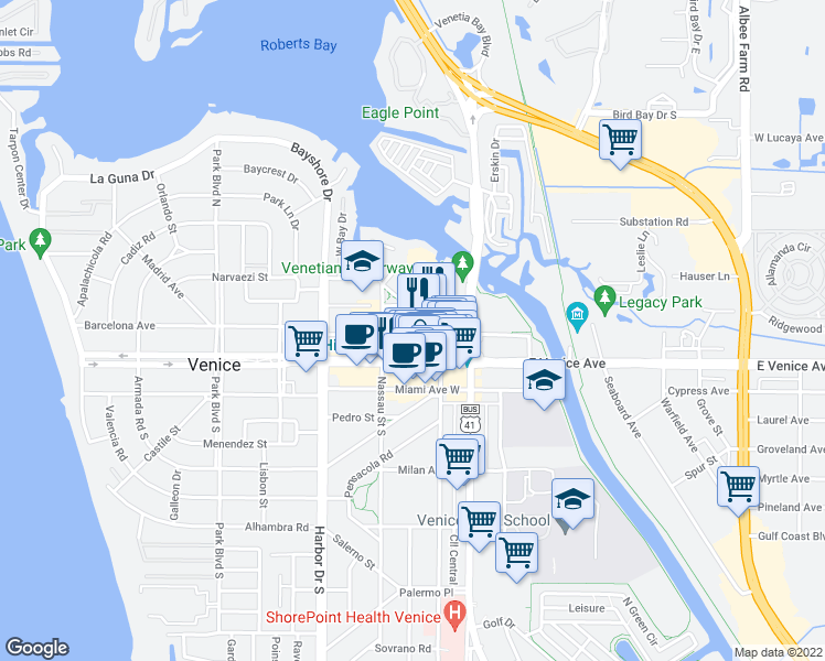 map of restaurants, bars, coffee shops, grocery stores, and more near 238 Tampa Avenue West in Venice