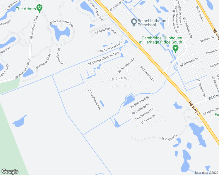 map of restaurants, bars, coffee shops, grocery stores, and more near Southeast Apple Lane in Hobe Sound