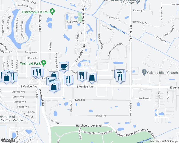 map of restaurants, bars, coffee shops, grocery stores, and more near 103 Auburn Cove Circle in Venice
