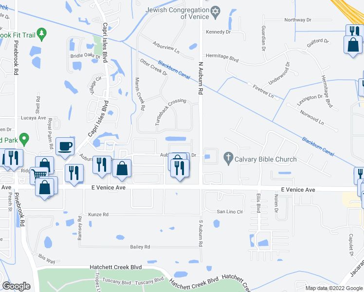 map of restaurants, bars, coffee shops, grocery stores, and more near 203 Auburn Lakes Circle in Venice