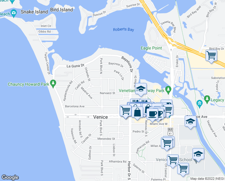 map of restaurants, bars, coffee shops, grocery stores, and more near 514 Parkdale Mews in Venice
