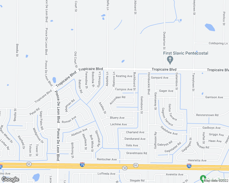 map of restaurants, bars, coffee shops, grocery stores, and more near 5690 Abelove Lane in North Port
