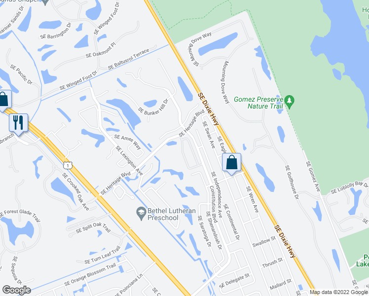 map of restaurants, bars, coffee shops, grocery stores, and more near 7356 Southeast Jamestown Terrace in Hobe Sound