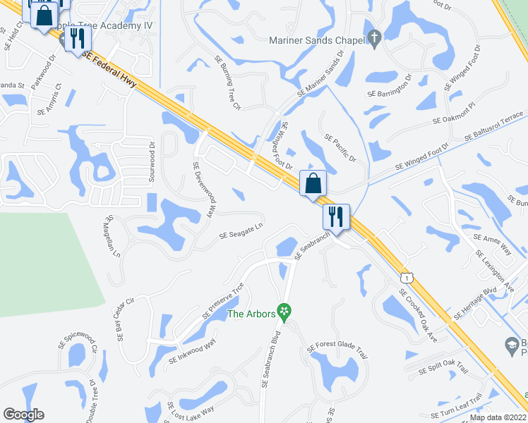 map of restaurants, bars, coffee shops, grocery stores, and more near 7229 Southeast Seagate Lane in Stuart