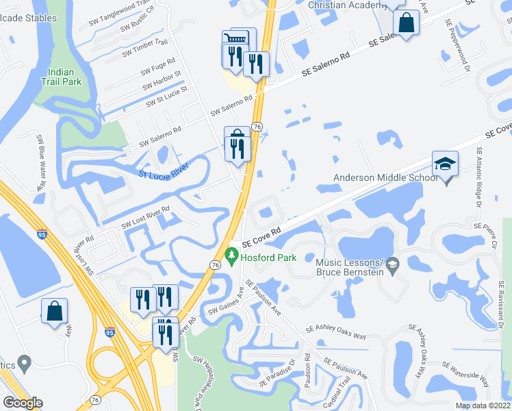 map of restaurants, bars, coffee shops, grocery stores, and more near 104 Southeast Crestwood Circle in Stuart