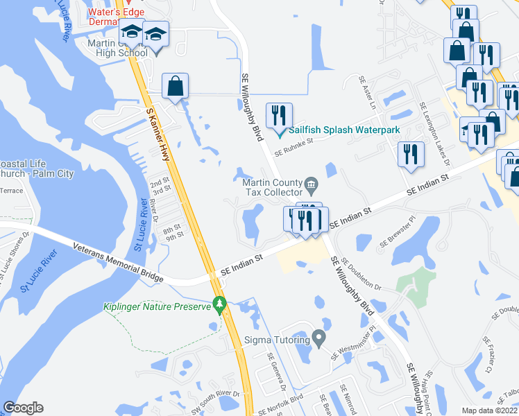 map of restaurants, bars, coffee shops, grocery stores, and more near 3800 Southeast Gatehouse Circle in Stuart