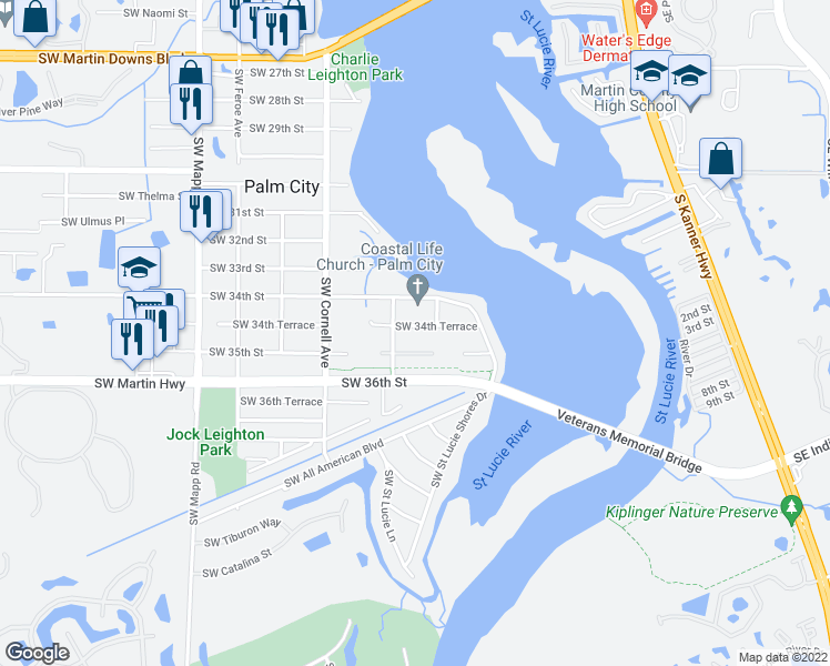 map of restaurants, bars, coffee shops, grocery stores, and more near 586 Southwest 34th Terrace in Palm City
