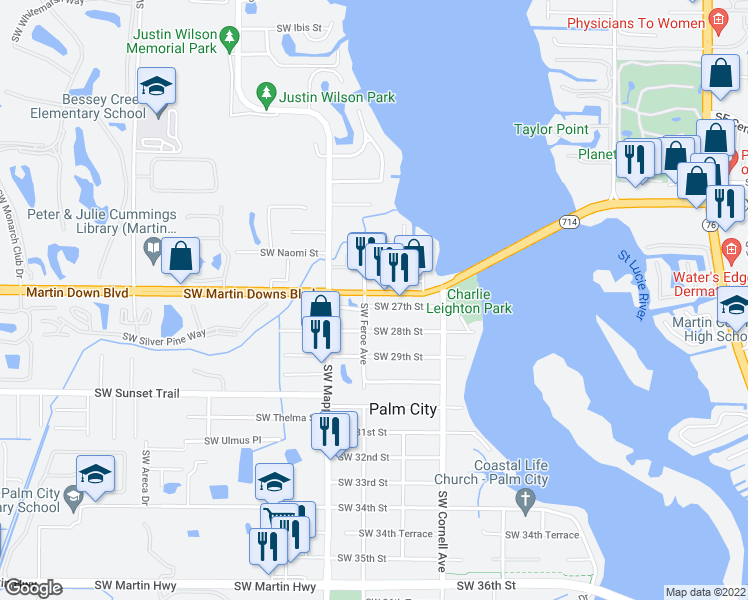 map of restaurants, bars, coffee shops, grocery stores, and more near 2626 Southwest Feroe Avenue in Palm City