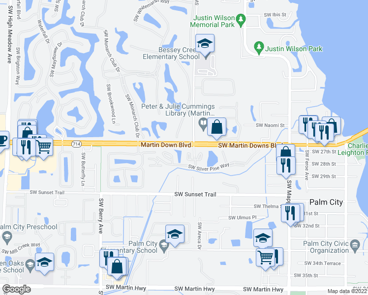 map of restaurants, bars, coffee shops, grocery stores, and more near 2025 Southwest Silver Pine Way in Palm City