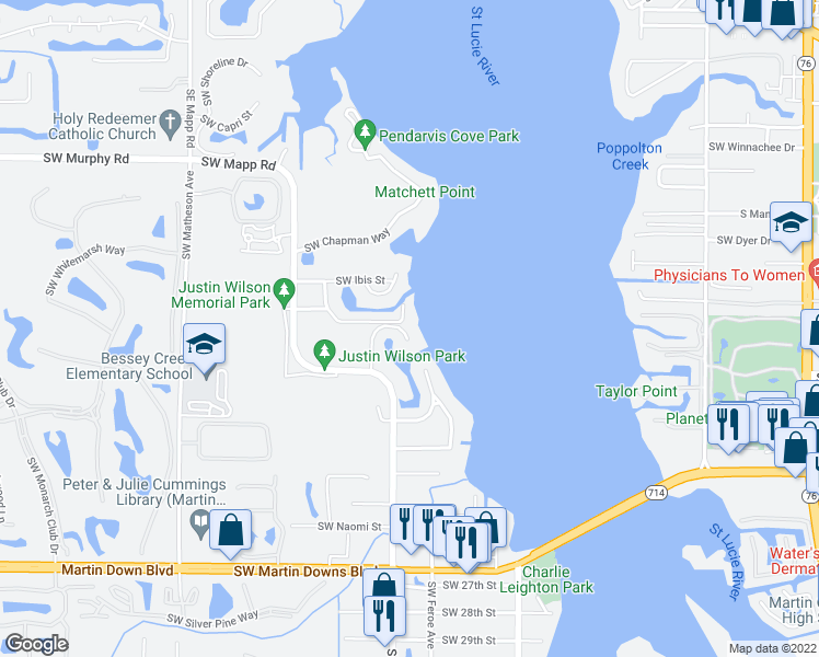 map of restaurants, bars, coffee shops, grocery stores, and more near 1918 Southwest Mooring Drive in Palm City