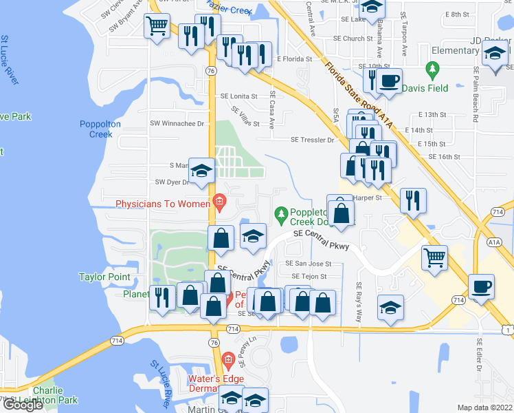 map of restaurants, bars, coffee shops, grocery stores, and more near 178 Southeast Kitching Circle in Stuart