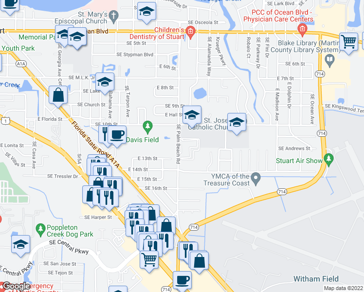map of restaurants, bars, coffee shops, grocery stores, and more near 1201 Southeast Palm Beach Road in Stuart