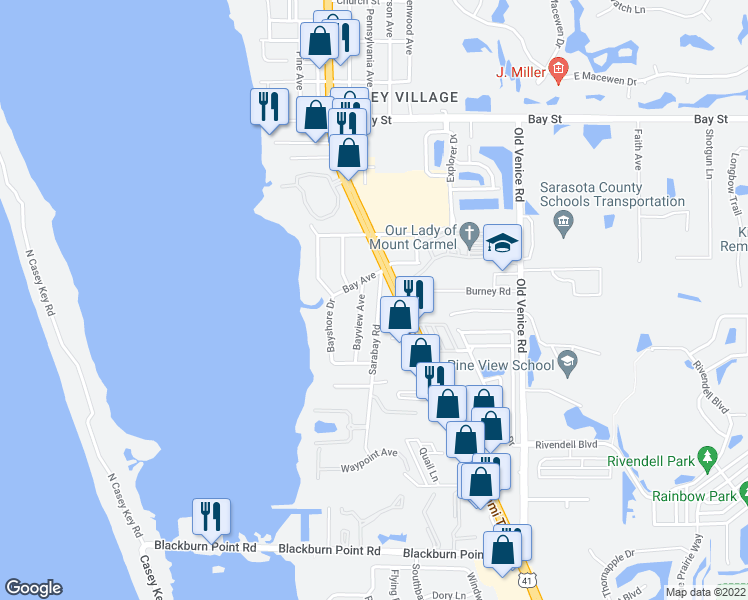 map of restaurants, bars, coffee shops, grocery stores, and more near 416 Sarabay Road in Osprey