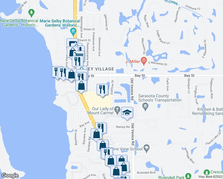 map of restaurants, bars, coffee shops, grocery stores, and more near 188 Explorer Drive in Osprey