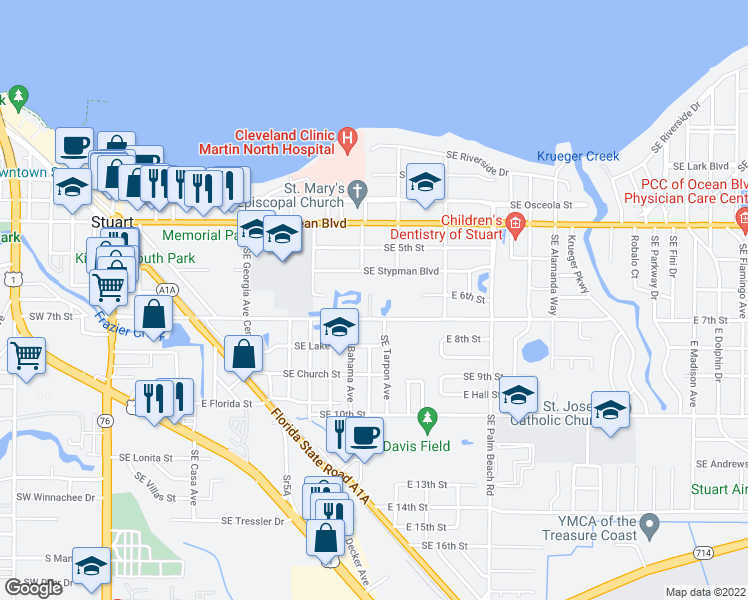 map of restaurants, bars, coffee shops, grocery stores, and more near 701 Southeast Martin Luther King Junior Boulevard in Stuart