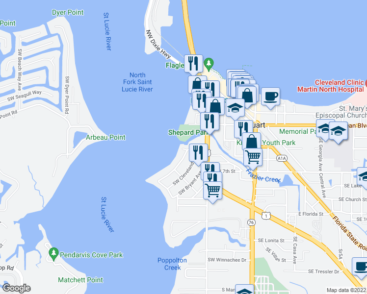map of restaurants, bars, coffee shops, grocery stores, and more near 552 Southwest Saint Lucie Crescent in Stuart